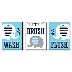 Blue Elephant - Kids Bathroom Rules Wall Art - 7.5 x 10 inches - Set of 3 Signs - Wash, Brush, Flush