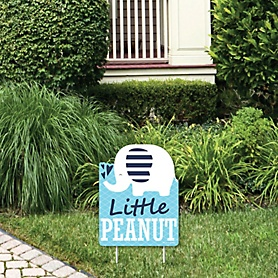 Blue Elephant - Outdoor Lawn Sign - Boy Baby Shower or Birthday Party Yard Sign - 1 Piece