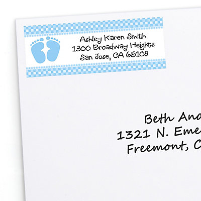 baby feet blue personalized baby shower return address labels 30