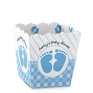 Baby Feet Blue - Party Mini Favor Boxes - Personalized Baby Shower Treat Candy Boxes - Set of 12