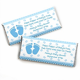 Baby Feet Blue - Personalized Candy Bar Wrappers Baby Shower Favors - Set of 24