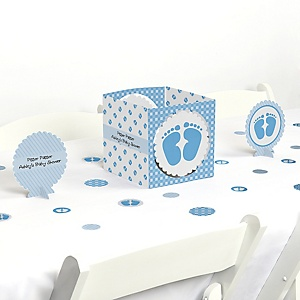 Baby Feet Blue Shower Centerpiece Table Decoration Kit