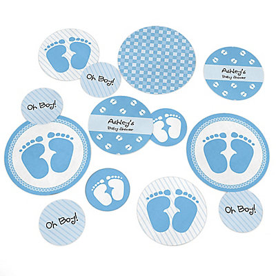 Baby Feet Blue Personalized Baby Shower Giant Circle Confetti