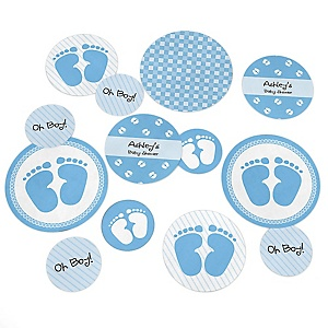 Baby Feet Blue - Personalized Baby Shower Giant Circle Confetti - Boy Baby Shower Decorations - Large Confetti 27 Count