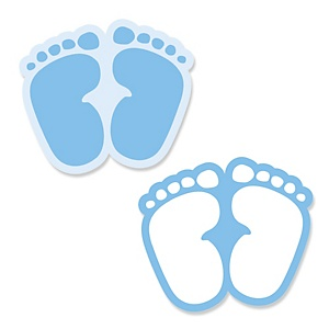 Baby Feet Blue - Shaped Baby Shower Paper Cut-Outs - 24 ct
