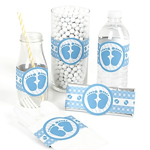 Baby Feet Blue - DIY Party Wrappers - 15 ct