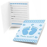 Baby Feet Blue - Fill In Baby Shower Invitations - Set of  8