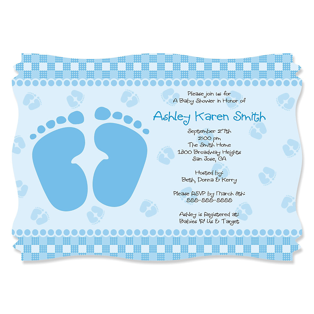 Baby Feet Blue - Personalized Baby Shower Invitations ...