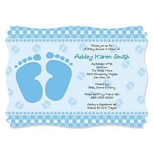 Baby Feet Blue - Personalized Baby Shower Invitations - Set of 12