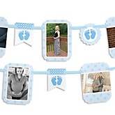 Baby Feet Blue - Baby Shower Photo Garland Banners