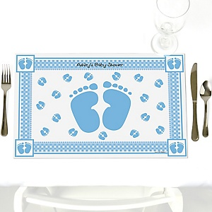 Baby Feet Blue - Personalized Baby Shower Placemats