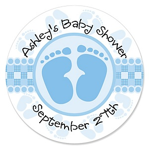 Baby Feet Blue - Personalized Baby Shower Sticker Labels - 24 ct