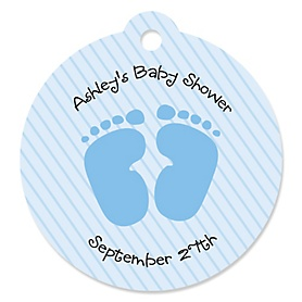 Baby Feet Blue - Round Personalized Baby Shower Die-Cut Tags - 20 ct