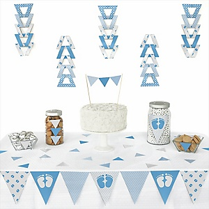 Baby Feet Blue - 72 Piece Triangle Baby Shower Decoration Kit
