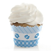 Baby Feet Blue - Baby Shower Cupcake Wrappers & Decorations