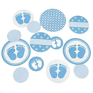 Baby Feet Blue - Baby Shower Giant Circle Confetti - Boy Baby Shower Decorations - Large Confetti 27 Count