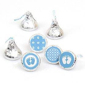 Baby Feet Blue - Round Candy Labels Baby Shower Favors - Fits Hershey's Kisses - 108 ct
