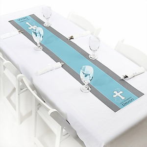 Little Miracle Boy Blue & Gray Cross - Personalized Party Petite Table Runner