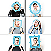 Blue Selfie Photo Booth Picture Frame Props - Printed on Sturdy Material - Set of 6