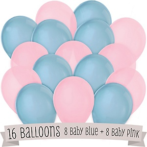 Blue and Pink - Baby Shower Latex Balloons - 16 ct