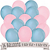 Blue and Pink - Birthday Party Latex Balloons - 16 ct