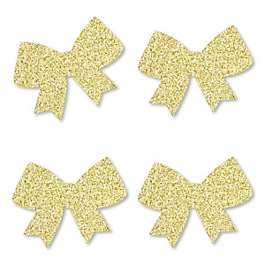 Gold Glitter Bow - No-Mess Real Gold Glitter Cut-Outs - Girl Baby Shower or Birthday Party Confetti - Set of 24
