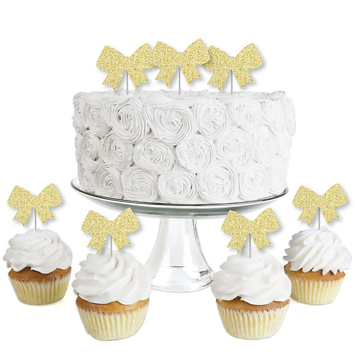 Gold Glitter Bow - No-Mess Real Gold Glitter Dessert Cupcake Toppers - Girl Baby Shower or Birthday Party Clear Treat Picks - Set of 24