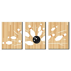 Strike Up the Fun - Bowling - Sports Themed Wall Art, Kids Room Decor and Game Room Home Decorations - 7.5 x 10 inches - Set of 3 Prints