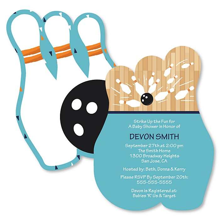 Strike Up the Fun - Bowling - Shaped Baby Shower Invitations - Set of 12