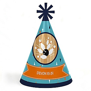 Strike Up the Fun - Bowling - Personalized Cone  Happy Birthday Party Hats for Kids and Adults - Set of 8 (Standard Size)