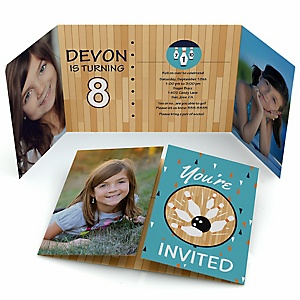 Strike Up the Fun - Bowling - Personalized  Birthday Party Photo Invitations - Set of 12