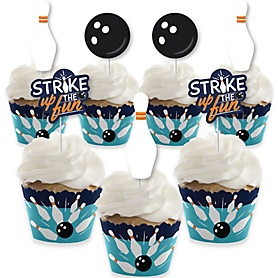 Strike Up the Fun - Bowling - Cupcake Decoration - Birthday Party or Baby Shower Cupcake Wrappers and Treat Picks Kit - Set of 24