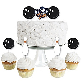 Strike Up the Fun - Bowling - Dessert Cupcake Toppers - Birthday Party or Baby Shower Clear Treat Picks - Set of 24