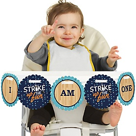 Strike Up the Fun - Bowling 1st Birthday - I am One -  First Birthday High Chair Birthday Banner
