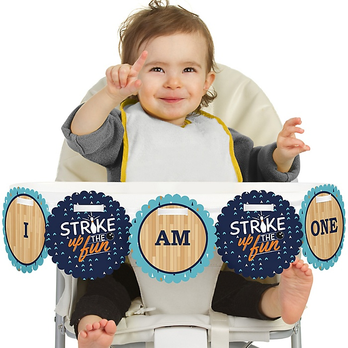 Strike Up the Fun - Bowling 1st Birthday - I am One -  First Birthday High Chair Birthday Banner