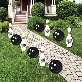 Strike Up the Fun - Bowling - Lawn Decorations - Outdoor Baby Shower or Birthday Party Yard Decorations - 10 Piece