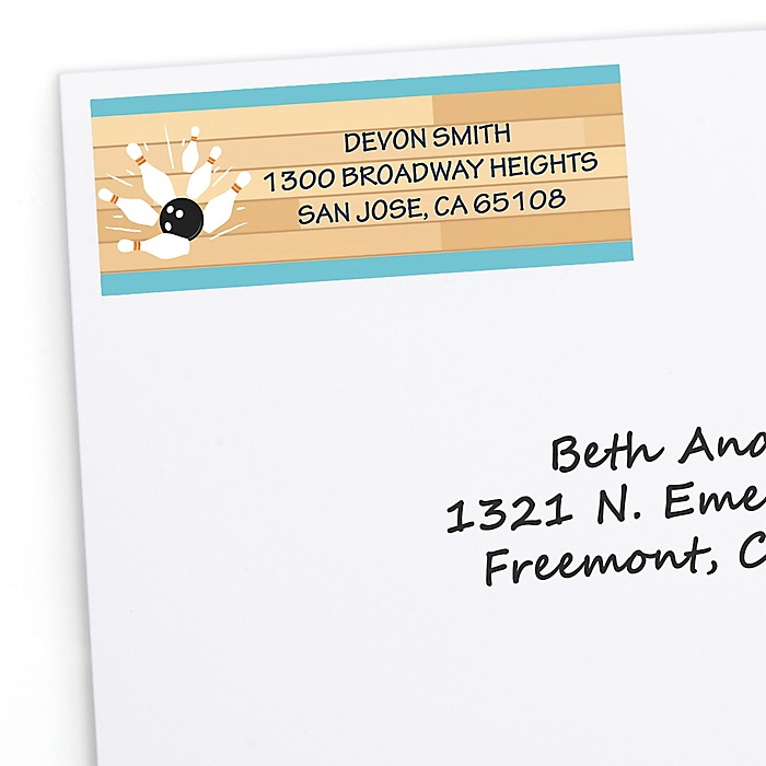 Strike Up the Fun - Bowling - Personalized Baby Shower or Birthday Party Return Address Labels - 30 ct