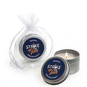 Strike Up the Fun - Bowling - Personalized Baby Shower or Birthday Party Candle Tin Favors - Set of 12