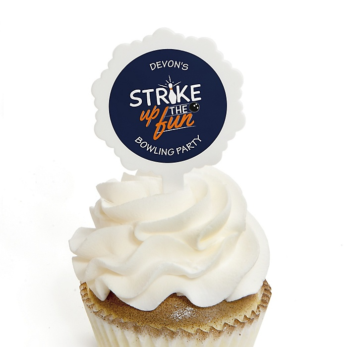 Strike Up the Fun - Bowling - Cupcake Picks with Personalized Stickers - Baby Shower or Birthday Party Cupcake Toppers - 12 ct
