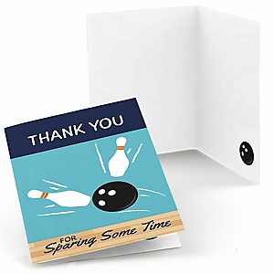 Strike Up the Fun - Bowling - Baby Shower or Birthday Party Thank You Cards - 8 ct