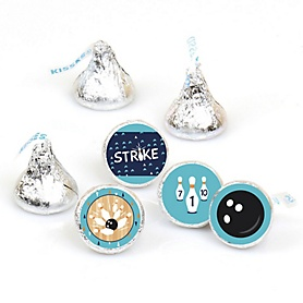 Strike Up the Fun - Bowling - Baby Shower or Birthday Party Round Candy Sticker Favors - Labels Fit Hershey's Kisses  - 108 ct