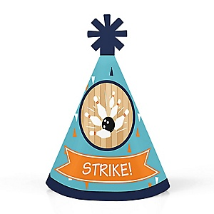 Strike Up the Fun - Bowling - Personalized Mini Cone Baby Shower or Birthday Party Hats - Small Little Party Hats - Set of 10