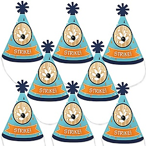 Strike Up the Fun - Bowling - Mini Cone Baby Shower or Birthday Party Hats - Small Little Party Hats - Set of 8