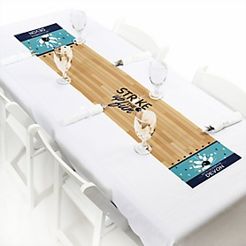 "Strike Up the Fun - Bowling - Personalized Petite Baby Shower or Birthday Party Table Runner - 12"" x 60"""