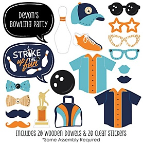 Strike Up the Fun - Bowling - 20 Piece Baby Shower or Birthday Party Photo Booth Props Kit