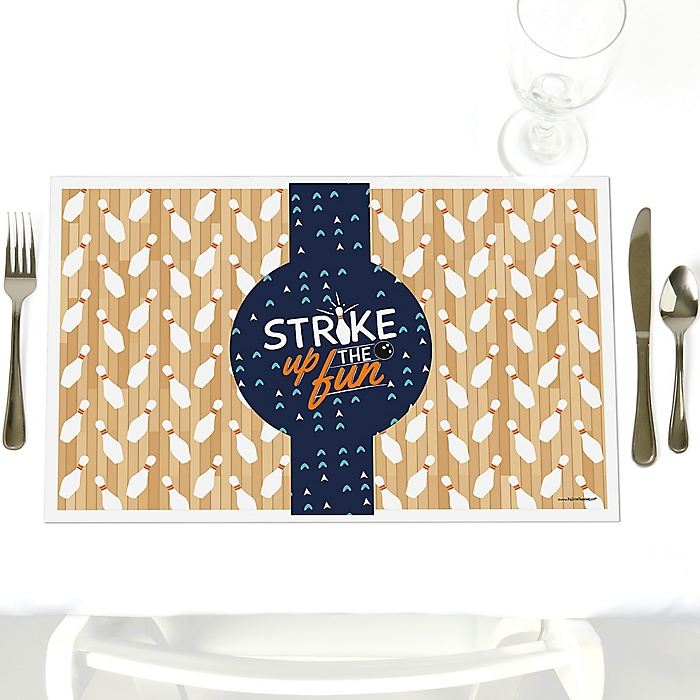Strike Up the Fun - Bowling - Party Table Decorations - Baby Shower or Birthday Party Placemats - Set of 12