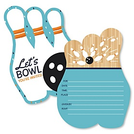 Strike Up the Fun - Bowling - Shaped Fill-In Invitations - Baby Shower or Birthday Party Invitation Cards with Envelopes - Set of 12