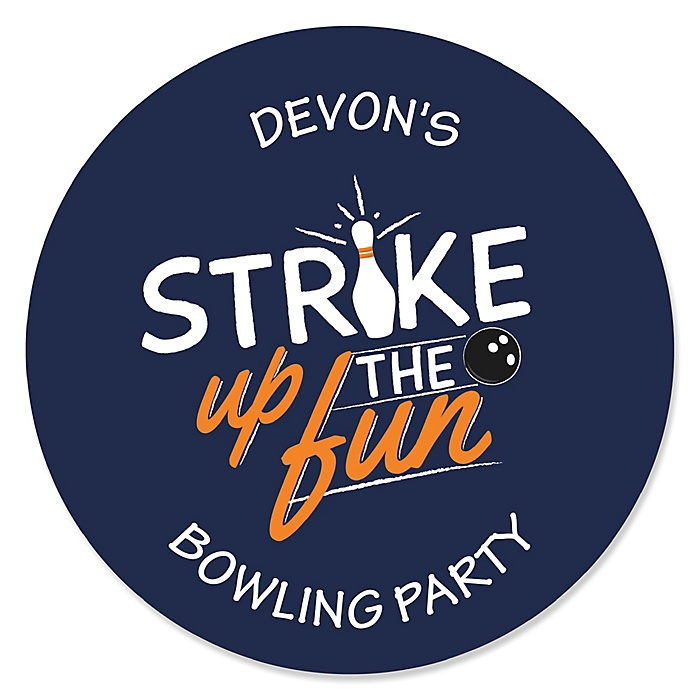 Strike Up the Fun - Bowling - Personalized Baby Shower or Birthday Party Sticker Labels - 24 ct