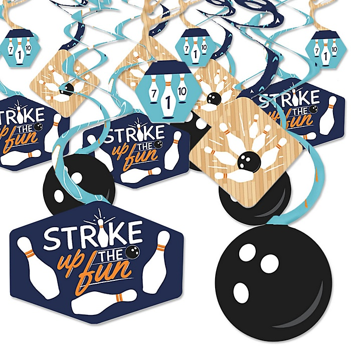 Strike Up the Fun - Bowling - Birthday Party or Baby Shower Hanging Decor - Party Decoration Swirls - Set of 40
