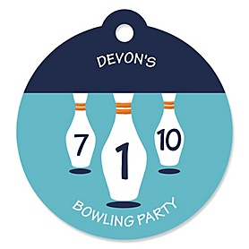 Strike Up the Fun - Bowling - Personalized Baby Shower or Birthday Party Favor Gift Tags - 20 ct